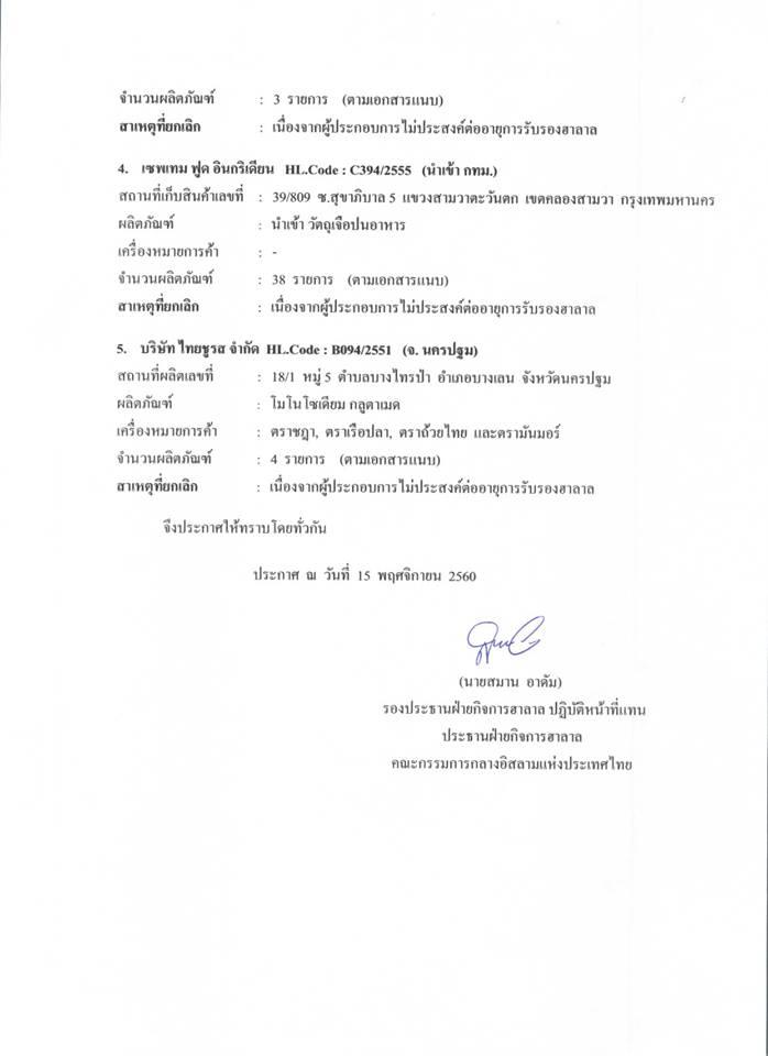คณะกรรมการกลางฯ ประกาศยกเลิกผลิตภัณฑ์ฮาลาล ฉบับที่ 19/2560