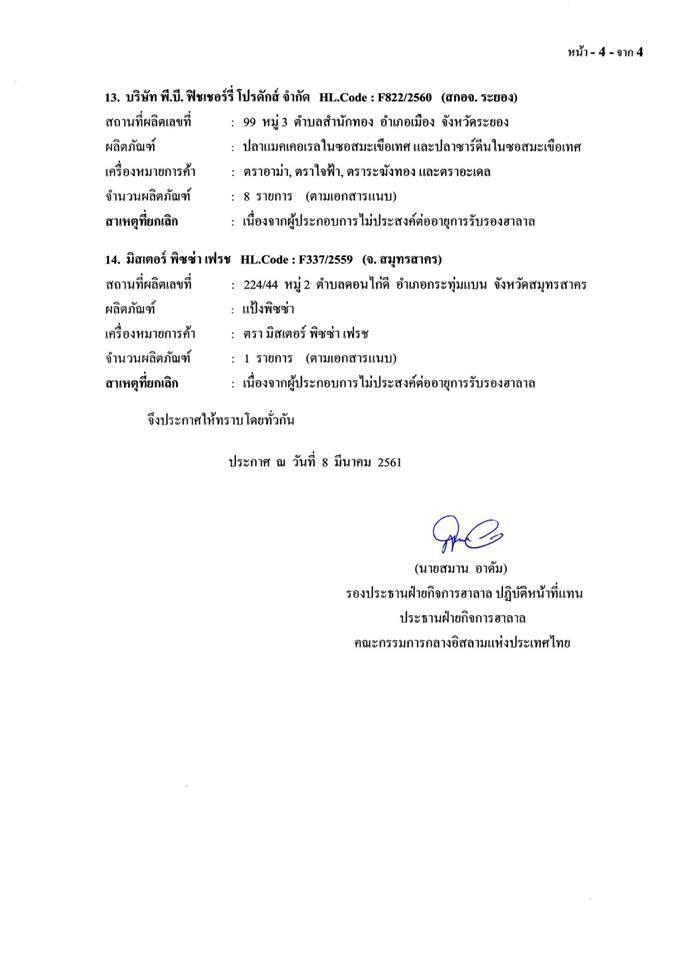 คณะกรรมการกลางฯ ประกาศยกเลิกผลิตภัณฑ์ฮาลาล ฉบับที่ 4/2561